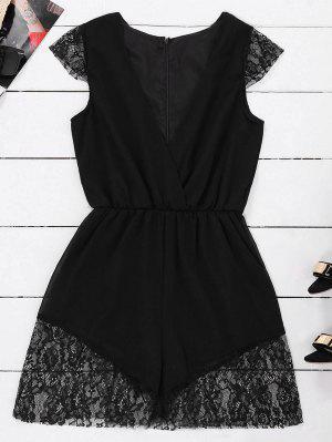 Vestido Sin Mangas De La Gasa De La Gasa Del Panel Del Cordón - Negro L