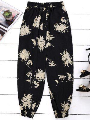 Floral Print Bloomer Holiday Pants - Black