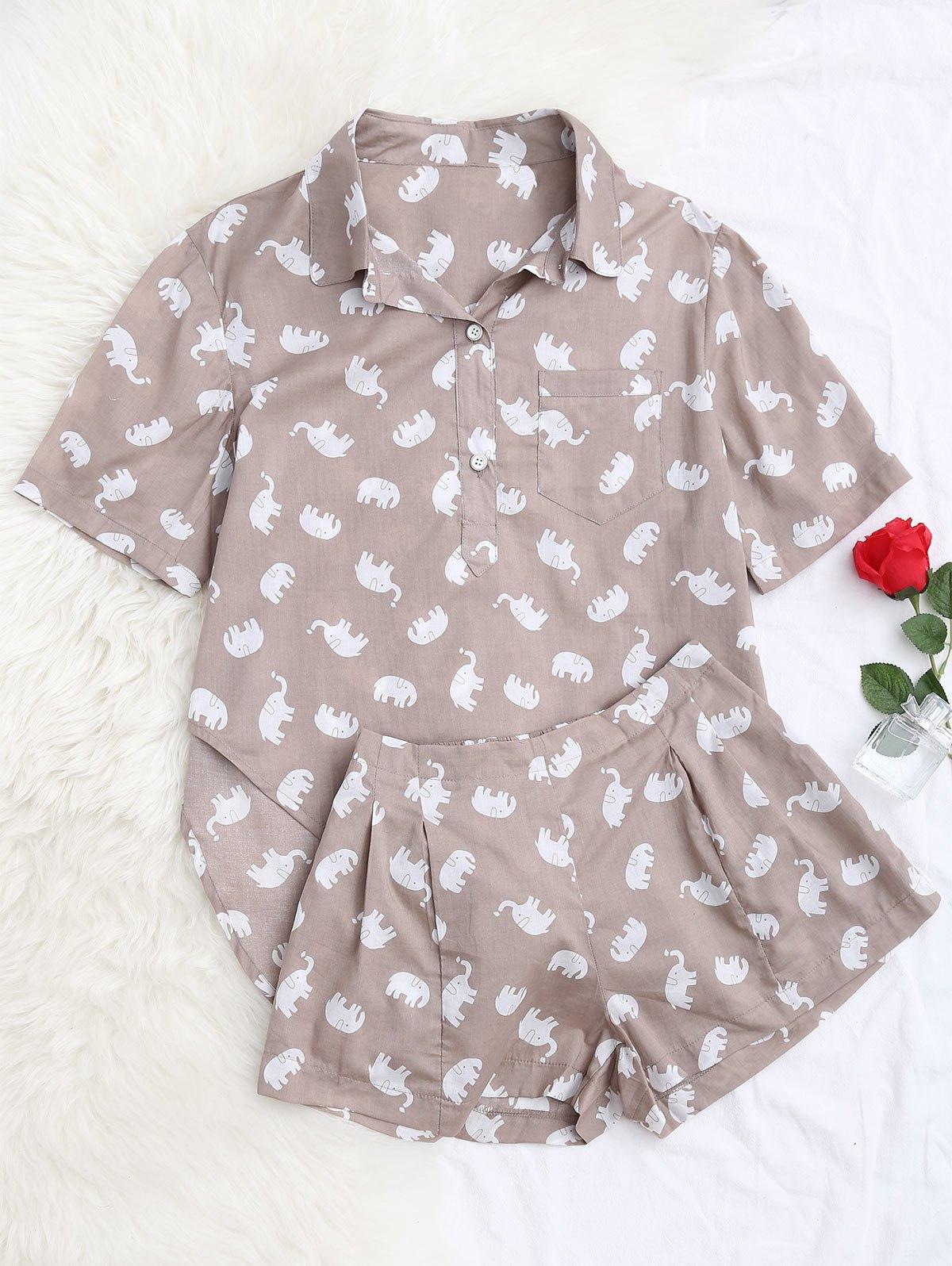 Elefanten Print Bluse mit Shorts Loungewear