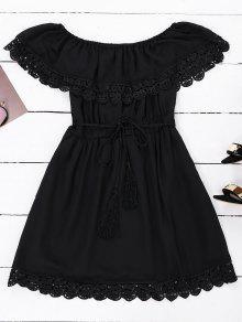 Vestido De Gasa De Hombro Con Cinturón - Negro L