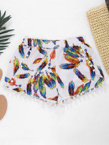 Feather Print Hot Shorts With Pompon - White Xl