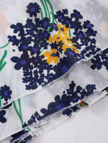 Blanco Xl Floral Gasa Sin Crossover Mangas Correas Camiseta 0wCYfZqP