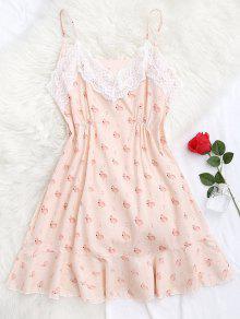 Flamingo Print Lace Panel Cami Sleep Dress - Pink M