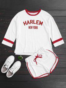 Ringer Gráfico Top E Drawstring Shorts - Branco Xl
