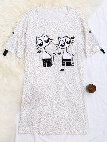 Padded Cartoon Leopard Print T-Shirt Loungewear - Apricot S