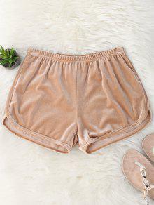 Elastic Waist Casual Velvet Shorts - Khaki M