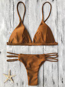 Haut De Bikini Paddé + Bas à Lacet Tricot - Brun S