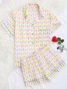 Pocket Pineapple Shirt With Shorts Loungewear - White M