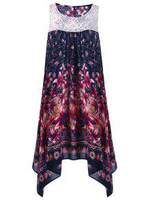 Buy Floral Sleeveless Cutwork Tent Dress - PURPLISH BLUE XL