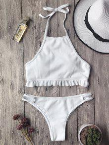 Textured Frilled High Neck Bikini Set - White S