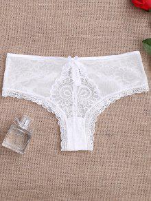 Lace Panel See Thru Thong Panties - White Xl