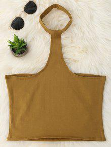 Cropped Racerback Tank Top - Coffee