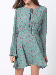 فستان جرس الأكمام طباعة الأزهار المصغرة شيفون - الثلج الأزرق M