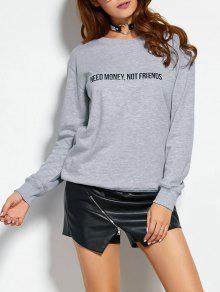 Sweatshirt Avec Texte - Gris S
