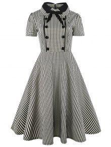 فستان كلاسيكي بونوت زر منقوش ملائم وتوهج - التحقق Xl
