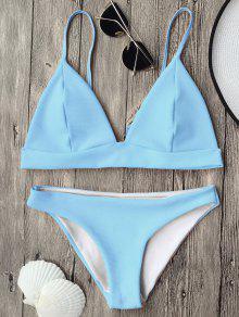 Traje De Bikini De Tirantes Finos Con Escote Pico  - Azul Claro L