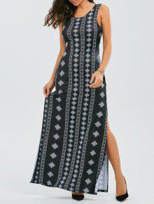 Back Bowknot Geometric Maxi Dress - Black S