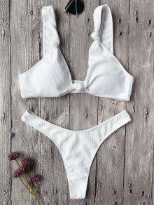 Textured Knotted Bralette Thong Bikini Set - White S