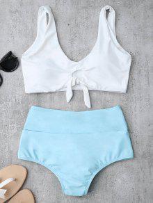 Traje De Bikini Fruncido Anudado Con Cintura Alta - Azur L