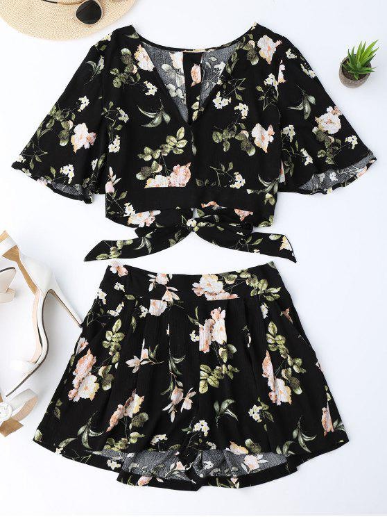outfits Bowknot Floral Cropped Top and Elastic Waist Shorts - FLORAL M