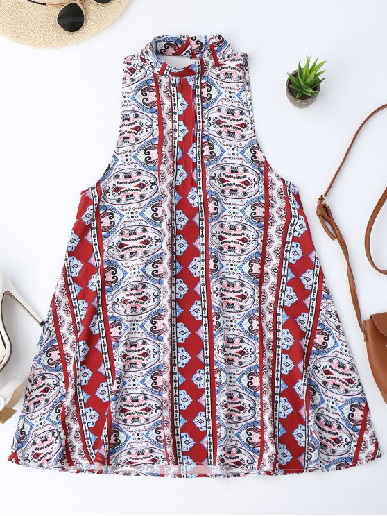 trendy Backless Printed Tunic Dress - COLORMIX S