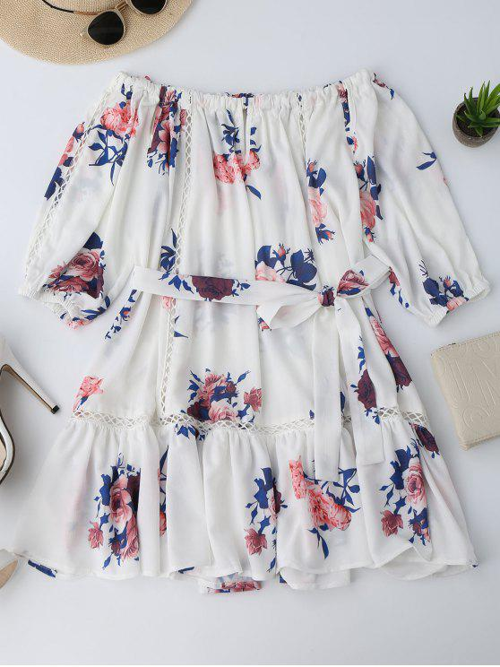 فستان زهري قطع بلا اكتاف مصغر - الأزهار M