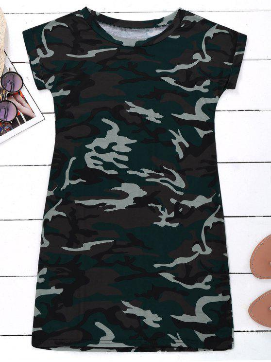 latest Camo T-Shirt Dress - CAMOUFLAGE XL