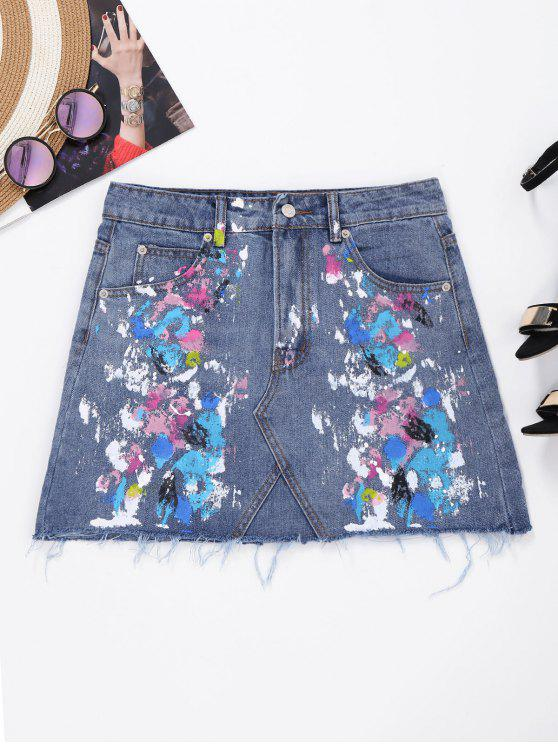 latest Frayed Paint Splatter Denim Skirt - DENIM BLUE M