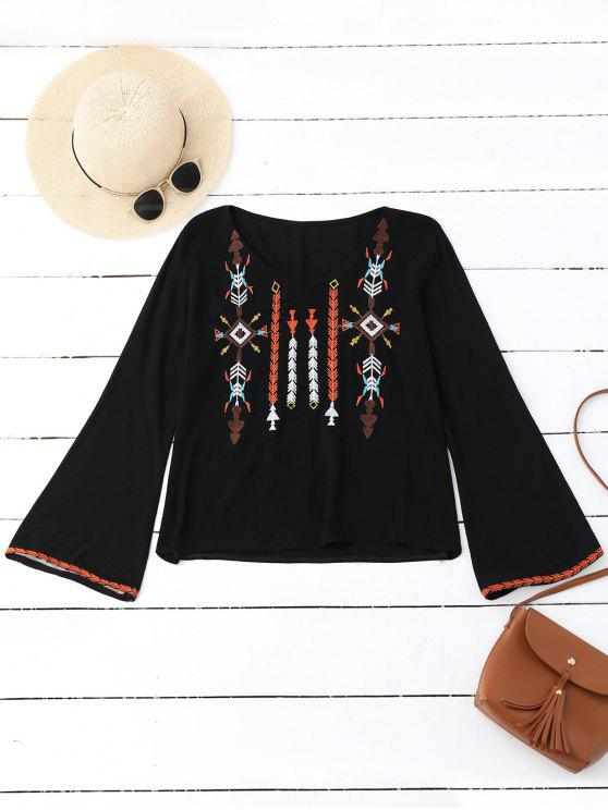 unique V Neck Embroidered Bell Sleeve Top - BLACK ONE SIZE