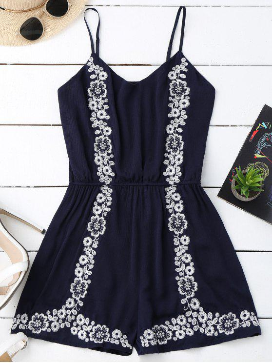 womens Cami Floral Embroidered Romper - PURPLISH BLUE ONE SIZE