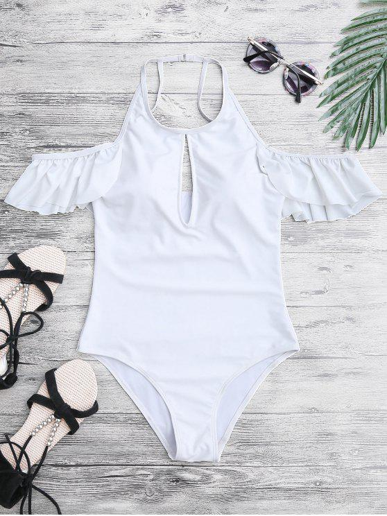 women High Neck Frilly Slimming One Piece Swimsuit - WHITE L
