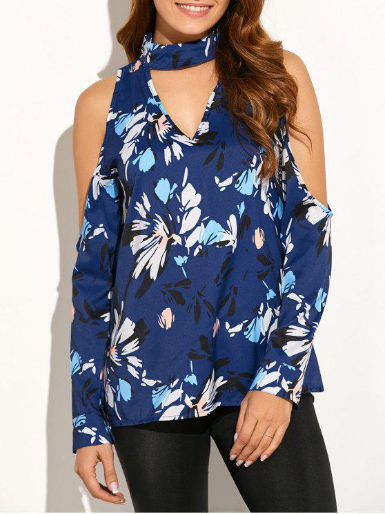 best Cold Shoulder High Collar Blouse - BLUE S