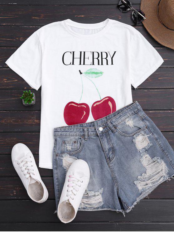 Camiseta de manga corta con estampado de cerezo - Blanco Única Talla