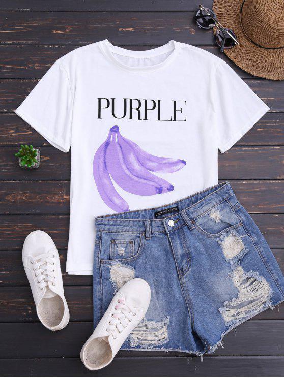 T-shirt gráfico da manga da banana - Branco Tamanho único