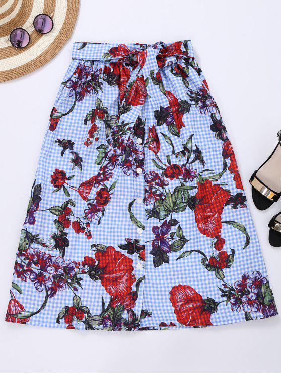 lady Tie Front Plaid Floral Skirt - CHECKED S