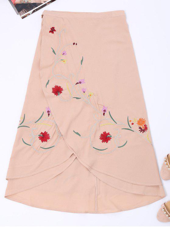 Falda bordada floral asimétrica del abrigo - Rosa Desnudo S