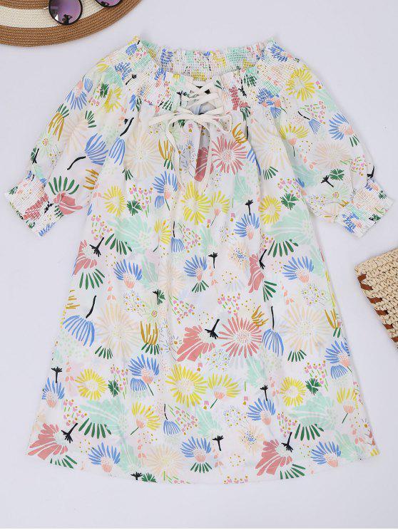 Robe imprimée de motif floral à épaules tombantes à lacet haut - Floral S