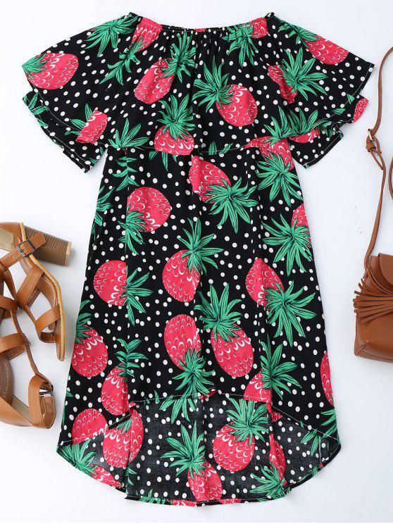 best Ruffle Off Shoulder Pineapple Dress - BLACK M