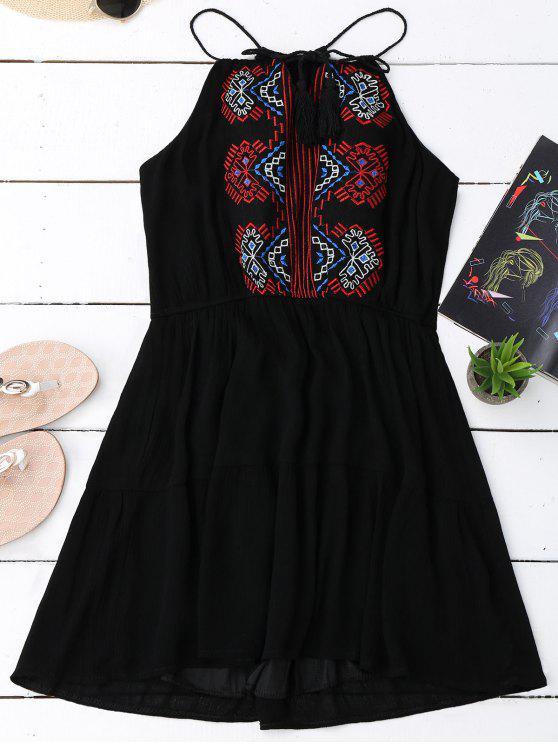 Vestido bordado do verão com franja - Preto Tamanho único