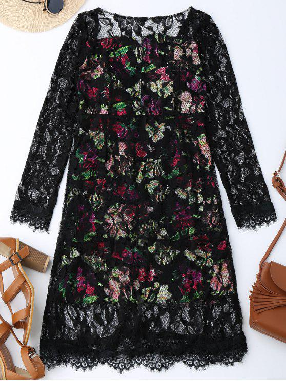 fancy V Back Floral Lace Dress - BLACK S