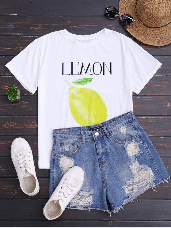 تي شيرت طباعة الليمون قصيرة الأكمام - أبيض حجم واحد