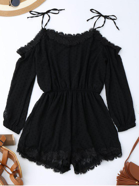 trendy Lace Trim Tie Shoulder Romper With Dot - BLACK S