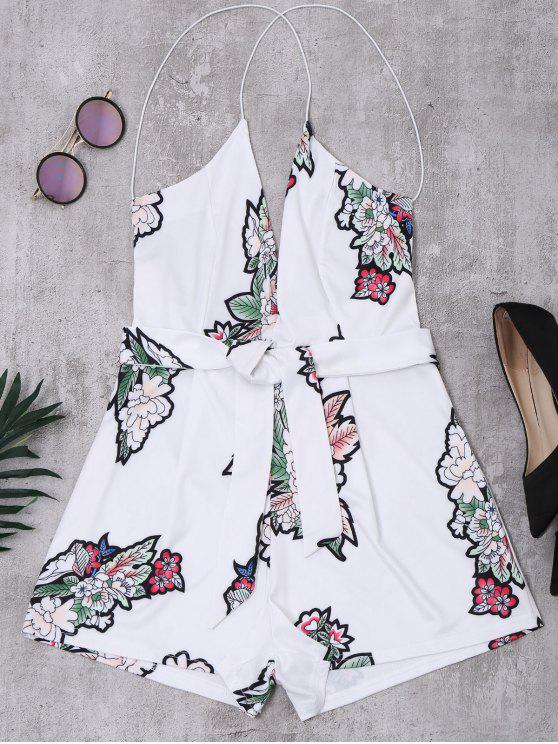 hot Elastic Straps Backless Floral Romper - WHITE S