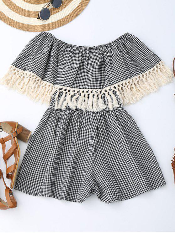 trendy Off Shoulder Printed Tassel Romper - CHECKED S