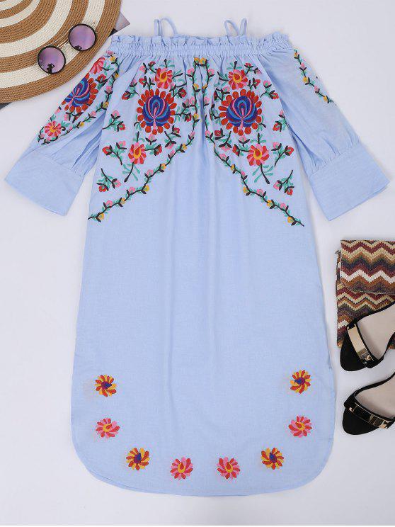 sale Cami Floral Embroidered Flare Sleeve Dress - LIGHT BLUE L