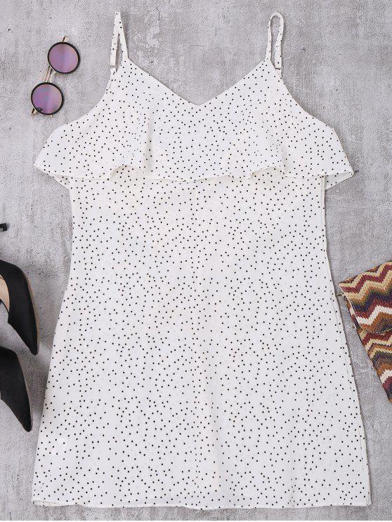 women Cami Ruffle Polka Dot V Back Dress - WHITE S