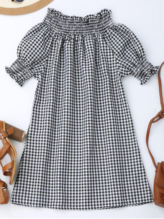 ladies Off The Shoulder Puff Sleeve Plaid Dress - CHECKED M