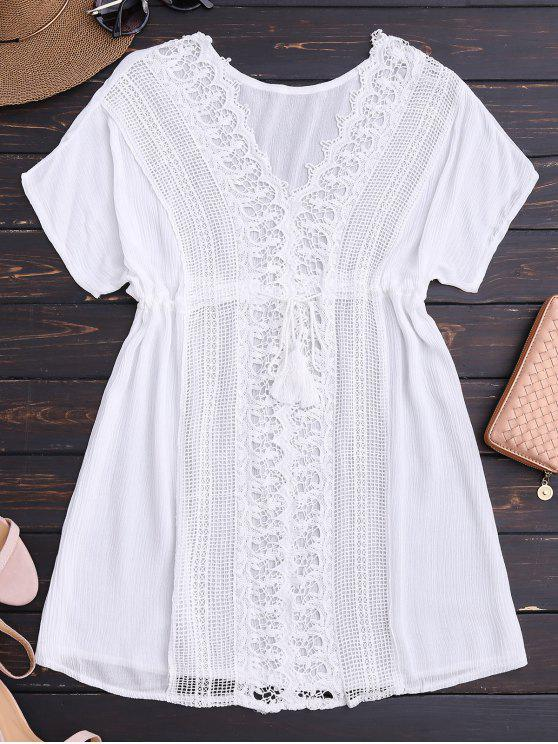 online Crocheted Lace Panel V Neck Beach Dress - WHITE ONE SIZE