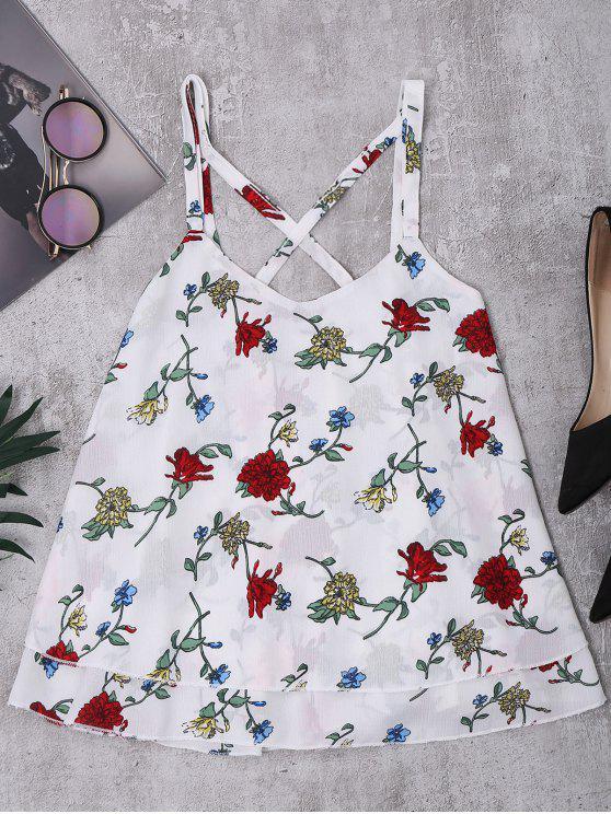Straps Floral Chiffon Tank Top - Blanco XL