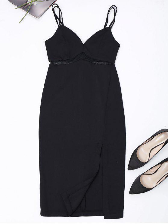Straps Slit Mesh Panel Vestido de vaina - Negro M